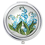 Vanroe 'Forget Me Not' Flower Designer Compact Mirror – Magnified, Engravable with Gift Box, Art Nouveau Review