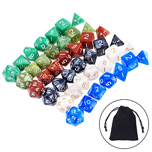 eBoot 42 Pieces (6 x 7) Polyhedral Dices Game Dices Assorted Colors for Dungeons and Dragons DND MTG RPG with 6 Pack Black Pouches, 6 Sets of d20, d12, 2 d10 (00-90 and 0-9), d8, d6 and d4 (4 Sided Marble)
