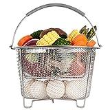Aoizta Double Tier Stackable Divider Steamer Basket for Instant Pot Accessories 6/8 qt, 18/8 Stainless Steel Mesh Strainer Basket Silicone Handle, Vegetable Meat Steamer, Egg Basket, Pasta Strainer