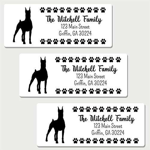 60 Personalized Doberman Pinscher Themed Return Address Labels - Dog Themed Address Labels (Dog Address Labels)