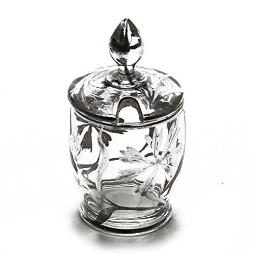 Mustard Pot, Sterling/Glass, Silver Overlay