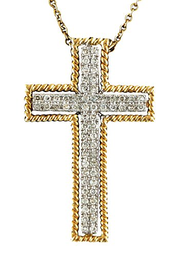 0.24ct Pavé Diamond 14K 2Tone Yellow Gold Cross Pendant (NECKLACE NOT INCLUDED)