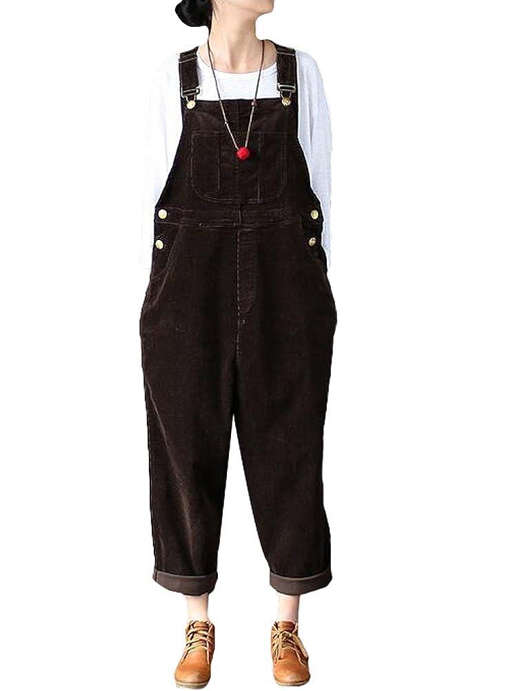 Lady Check Corduroy Jumpsuit Dungaree Overall Harem Pants Wide Leg Trouser Black Clothes, Shoes & Accessories