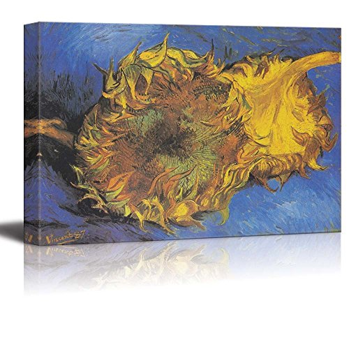 Two Cut Sunflowers 1887 by Vincent Van Gogh Print Famous Painting Reproduction