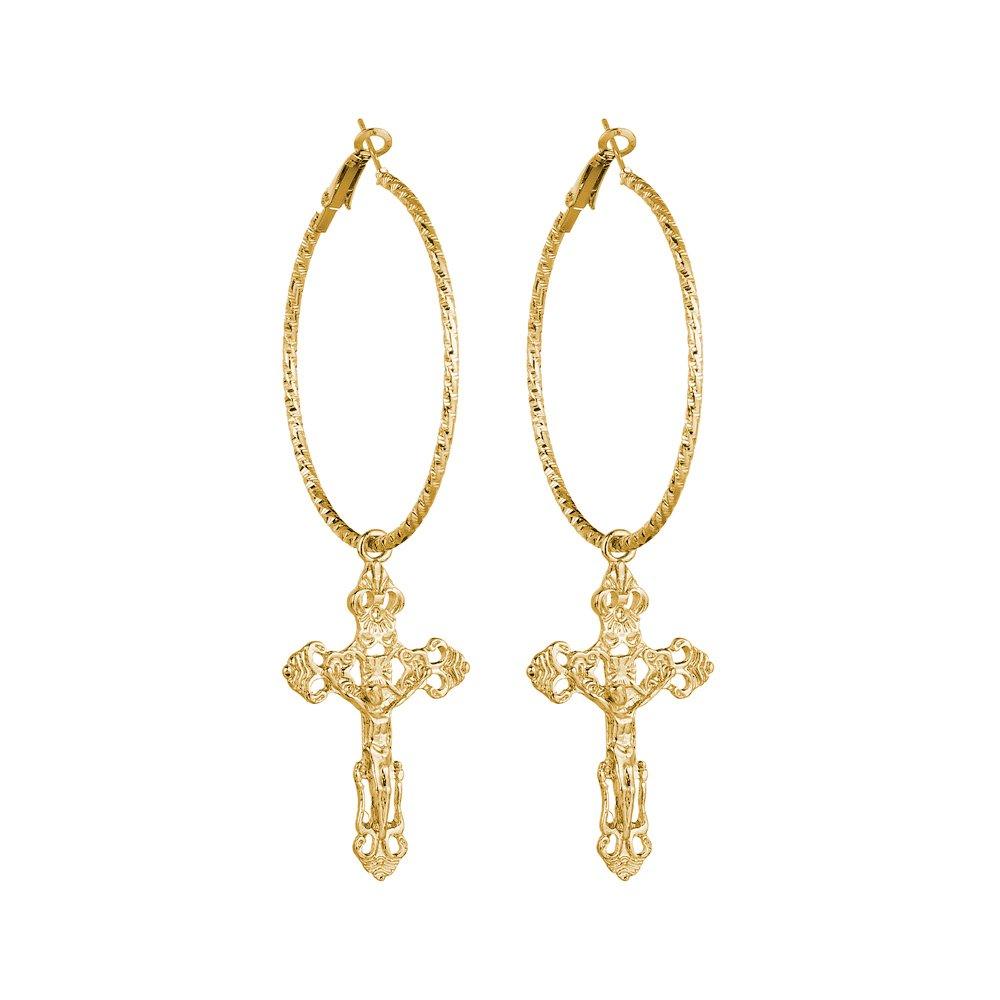 palettei Cross Dangle Hoop Earrings - Cross with Hoop Charm Tassel Dangle Earrings B07FLGPJ6M_US