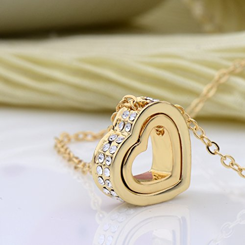 Xingzou Jewelry for Women 18K Gold Plated Double Heart Necklace Pendant with Swarovski Elements Crystal