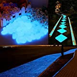 200Pcs Decorative Pebbles Stones Luminous Cobblestones Glow in the Dark Aquarium Fish Tank Gravel Decorations Garden or Yard (blue)
