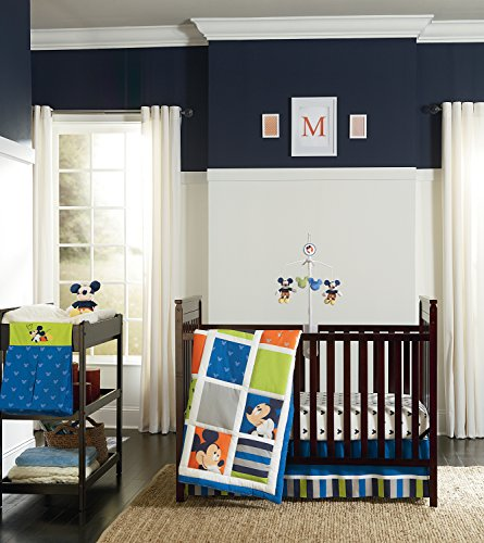 Disney Mickey 4 Piece Crib Bedding Set, Go Mickey Discontinued by (Kidsline Crib Bedding Sets)