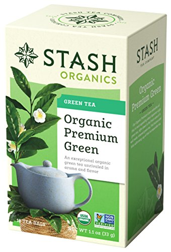 Stash Tea, Organic Premium Green Tea, Box of Tea Bags Individually Wrapped in Foil