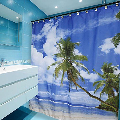 Kinlo Summer Beach Blue Sea Palm Tree Waterproof Polyester Fabric Bathroom Shower Curtain with 12 Hooks 70 by 78 Inch- Bathroom Decor