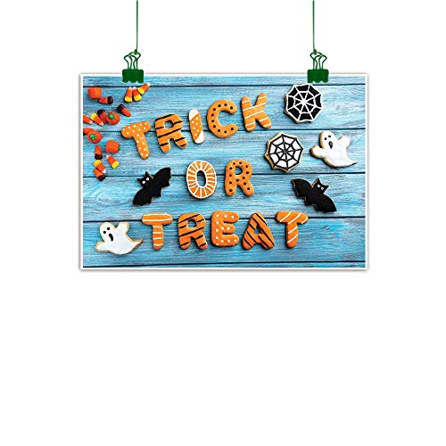 J Chief Sky Art Prints Vintage Halloween,Trick or Treat Cookie Wooden Table Ghost Bat Web Halloween,Blue Amber Multicolor Wall Decor for Home Office Decorations W 24