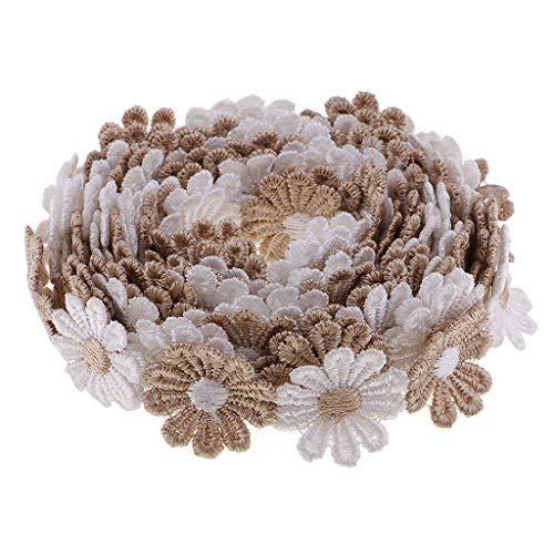 Baoblaze 3ヤード デイジーフラワー 刺繍テープ レースリボン ミシン クラフト 手芸用品 縫製装飾 3色選ぶ - コーヒー