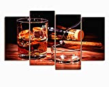 BERDECIA Holiday Celebration Whiskey with Ice Canvas Wall art cigar smoking in ashtray Painting Print on Canvas 4 Pieces Modern Wine Wall Art Artwork for Kitchen and Bar(Unframed)