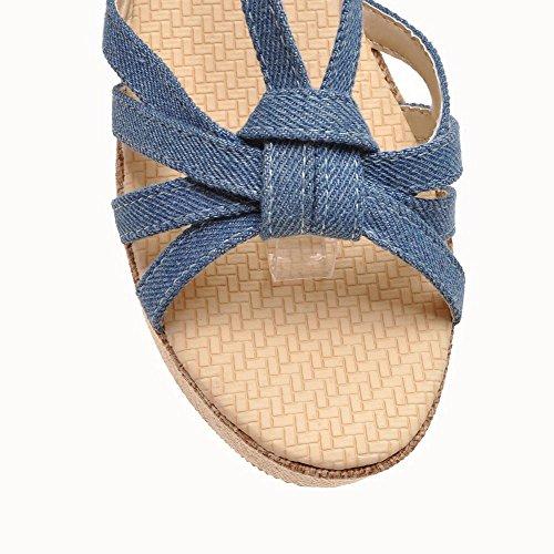 Amoonyfashion Kvinnor Öppen Tå Höga Klackar Mjukt Material Fast Spänne Sandaler Blå