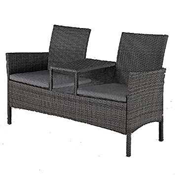 Astounding Rattan Garden Two Seater Companion Bench Connected By A Gmtry Best Dining Table And Chair Ideas Images Gmtryco