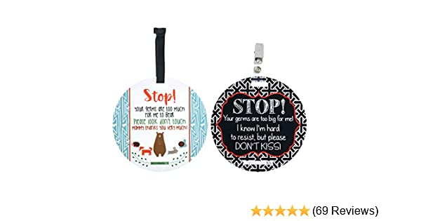 THREE LITTLE TOTS Modern No Kissing Baby Car Seat Sign or Stroller Tag  CPSIA Safety Tested Baby Accessories