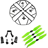 Upgraded Spare Parts for DJI Mavic Pro 8331 8331F Low-Noise Quick-release Folding Propellers Prop Guard Bumper Landing Skids Extender Riser Rc Quadcopter (Black-Green)