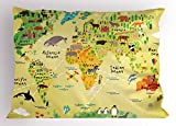 Ambesonne Africa Pillow Sham, Educational World Map Africa America Penguins Atlantic Pacific Animals Australia, Decorative Standard Queen Size Printed Pillowcase, 30 X 20 inches, Multicolor