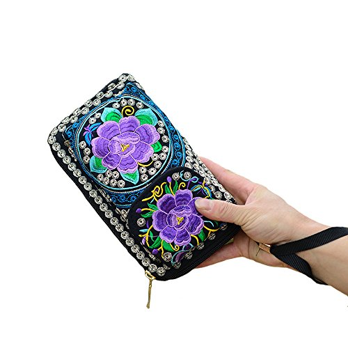 Women's New Flwer Embroidery Design Bohemian Style Purse Clutch Bag Card Holder (5) by VINTAGE EMBROIDERY V.E.