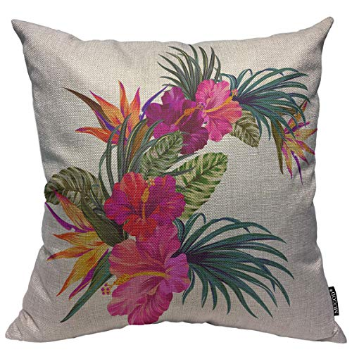 Mugod Tropical Flowers Decoration Throw Pillow Cushion Covers Beautiful Hibiscus and Palm Retro Hawaiian Style Bouquet Decorator Funny Pillows for Sofa Home Decor Couch Pillow Case18 X 18 Inch