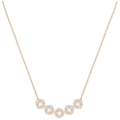 c86f69f61b395 Swarovski Crystal White Angelic Square Rose Gold-Plated Necklace