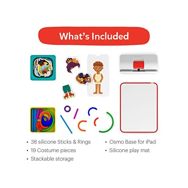 Osmo 901-00015 Little Genius Starter Kit 4 Giochi Apprendimento Hands-On età prescolare Risolvere Problemi Base iPad Creativity Incluso 6 spesavip