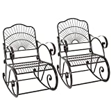 Cheap Wrought Iron Porch Rocking Chair Outdoor Patio Backyard Mental Rocker Chairs Seat Furniture Antique Style Set of 2