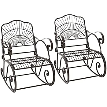 Wrought Iron Porch Rocking Chair Outdoor Patio Backyard Rocker Chairs Seat  Furniture Antique Style Set Of
