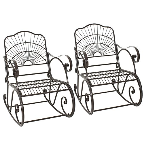 Wrought Iron Rocking Chair Outdoor Porch Patio Rocker Chairs Seat Furniture Antique Style Set of 2(2) (Wrought Iron Porch Furniture)