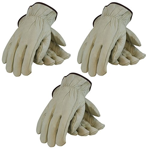 (3 Pack PIP Top Grain Cowhide Leather Work Glove - Keystone Thumb, Sizes S-XL (Medium))