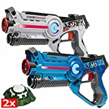 Light Battle Laser Tag set: 2 Infrared Toy Guns blue/white + 2 Active Targets - Laser gaming toy for kids - LBAP22234