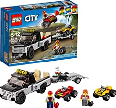 Kids can race to the finish line with this LEGO City ATV race team featuring a toy truck and 2 toy ATV cars. This building kit also comes with a trailer hitch, pickup bed with adjustable toy car ramp and a detachable toy trailer with adjustab...