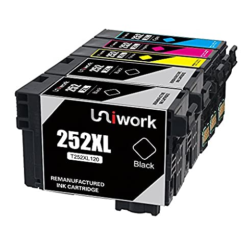 Uniwork Technology 5 Pack 252XL High Yield 252 Ink Cartridge Remanufactured Replacement for use in WorkForce WF-3620 WF-7610 WF-7620 WF-3640 WF-7110 (Printer Cartridges Wf 3640)