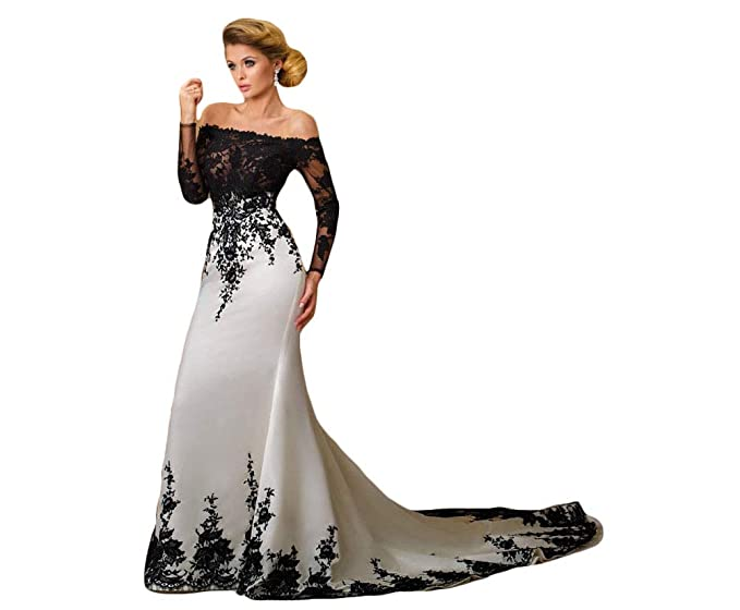 Amazoncom Fenghuavip Off The Shoulder Wedding Dress Black