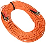 C2G/Cables to Go 10551 ST-ST Duplex 62.5/125 OM1 Duplex Multimode PVC Fiber Optic Cable (20 Meters, Orange)