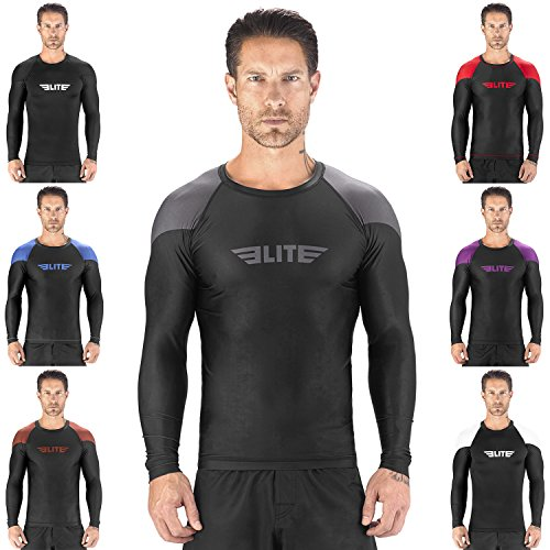 Elite Sports New Item Full Long Sleeve Compression, Mma, Bjj, No Gi, Cross Training Rash Guard, X-Large, Gray