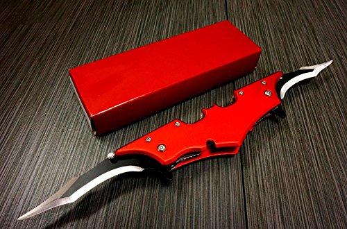 Batman Dark Knight Bat Spring Assisted Open Folding Double Blade Dual Twin 5 Colors Pocket Knife Tactical Belt Clip Desert Digi Camo Silver Blue Red Knives (Red) ()