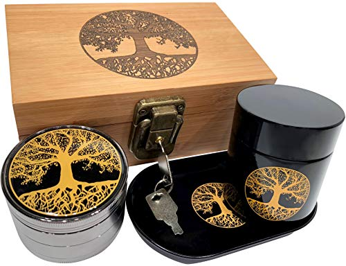 Tree of Life Stash Box Combo - Full Size Titanium 4 Part Herb Grinder - UV Glass stash jar - Engraved Wood Stash Box - Smell Proof and Airtight (Tree of Life) ()