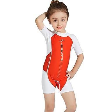 5035c2b7bdfa7 Kids Swimsuit One Piece Swimwear - Baby Beachwear UV Sun Protection Boys  Wetsuit Zip Short Sleeve Swimming Costume Girls Surfing Diving Suits UPF 50+:  ...