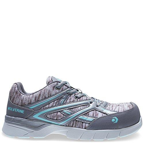 Wolverine Women's Jetstream Athletic Composite Toe Work Shoe, Grey/Blue, 9 W - Composite Women Shoes Toe