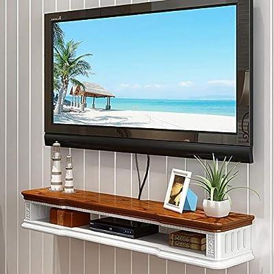 Soporte De TV Flotante Consola De TV Mueble TV Suspendido Madera Maciza Armario De Almacenamiento De Set Top Box Estante (Color : Brown+White, Tamaño : 80 * 24 * 17cm): Amazon.es: Hogar