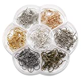 TOAOB 140pcs Fish Earring Hooks Ear Wires 18MM Surgical Steel Hypo Allergenic with Ball and Coil Mixed Color