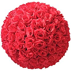 Yamalans 8 Inch Wedding Artificial Rose Silk Flower Ball Hanging Decoration Centerpiece