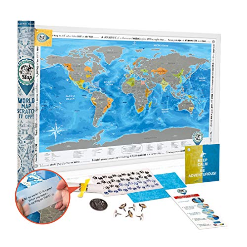 Scratch off World Map SILVER - Prize Winning 34.7x24.4'' Premium Detailed Travel Tracker Map - Large Deluxe Scratchable Poster with USA States - Tube/Frame