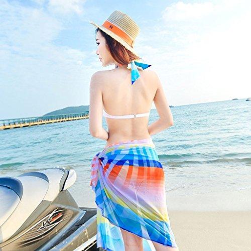 Traje de baño Bikini Mujer Split Skirt Conjunto de tres piezas de pequeño pecho Bronce Mujer Traje de baño de resorte caliente