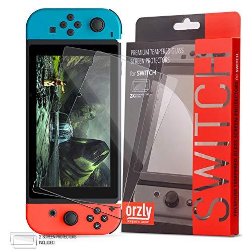 Protector de Pantalla para la Nintendo Switch - Protector de Pantalla de Prima de Cristal Templado de Orzly - Pack de DOS para la Pantalla de 6.2 pulgadas de la Nintendo Switch