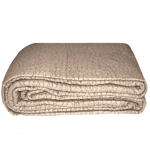 MyEasyShopping California King 3-Piece Quilted Bedspread 100% Cotton in Taupe Bedspread Quilt Antique Hand Quilted Pillow Crocheted Coverlet (Hand Crocheted Bedspread)