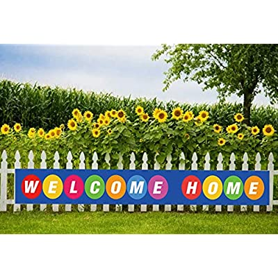 Maplelon Welcome Home Banner, Colorful Homecoming Deployment Return Party Sign Decoration: Toys & Games
