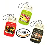 Yankee Candle Fruit Car Jar Trio - Macintosh Apple, Pineapple Cilantro, Black Coconut - Set of THREE Car Jars