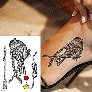 Handaxian 3pcsTatuaje Negro pájaro Rosa Tatuaje Ojos extraíble ...